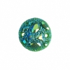 Resin Sew-on Moon Rock 10pcs 18mm Round Emerald Aurora Borealis